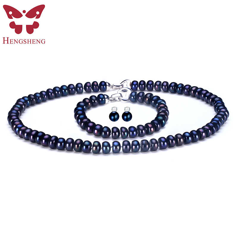 HENGSHENG 2017 New Black Pearl Jewelry Set For Women,Natural Black Pearl Stud Earrings&Bracelet&Necklace Fashion Jewelry Sets