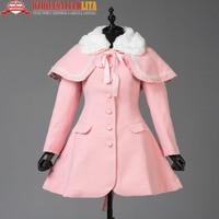 Pink Long Woolen Coat Sweet Lolita Coat Long Winter Coats with Cap