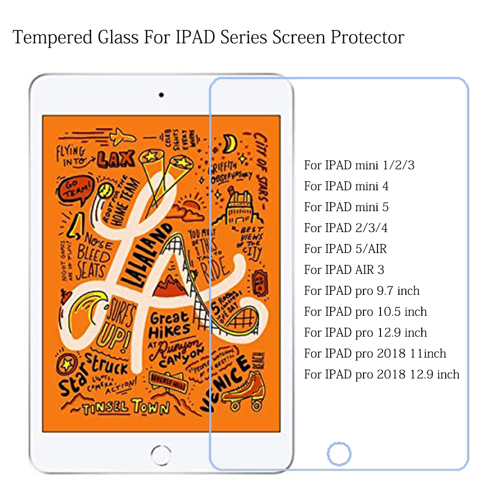 Tempered Glass For Apple IPad Air Mini 1 2 3 4 5 Pro 9.7 10.5 11 Inch 2017 2018 2019 For IPad Air3 Mini5 Screen Protector Film