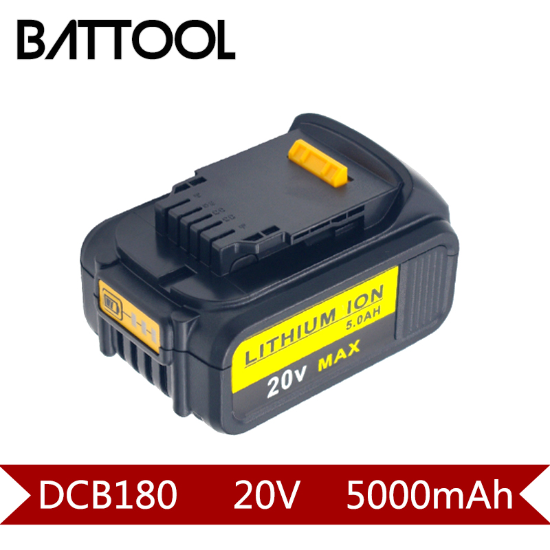 1X 18V 5000mAh Li-ion DCB180 Rechargeable Battery For DEWALT DCB180,DCB181,DCB181-XJ,DCB200,DCB201,DCB201-2,DCB204,DCB20 батарея аккумуляторная для инструмента pitatel для dewalt dcb180 dcb181 dcb182 dcb183 dcb184 dcb185 dcb200 2 0ah 18v