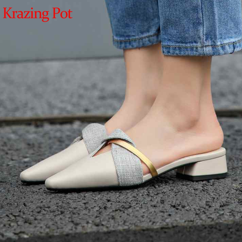 Krazing Pot 2019 genuine leather mixed color patch work concise design daily wear mules women princess