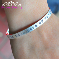 Wholesale Scrub Cuff Bangle Personalized Quote Engraving Custom Words Sterling Silver Bracelet Vintage Unisex Jewelry