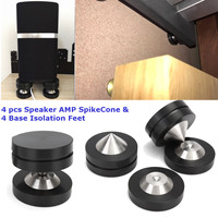 4 pcs Speaker AMP Isolation Spike Vibration Cone and 4 Base Isolation Feet Pads Floor Improve Audio Sound Quality