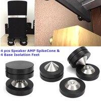 4 pcs Speaker AMP Isolation Spike Vibration Cone and 4 Base Isolation Feet Pads Floor Improve Audio Sound Quality
