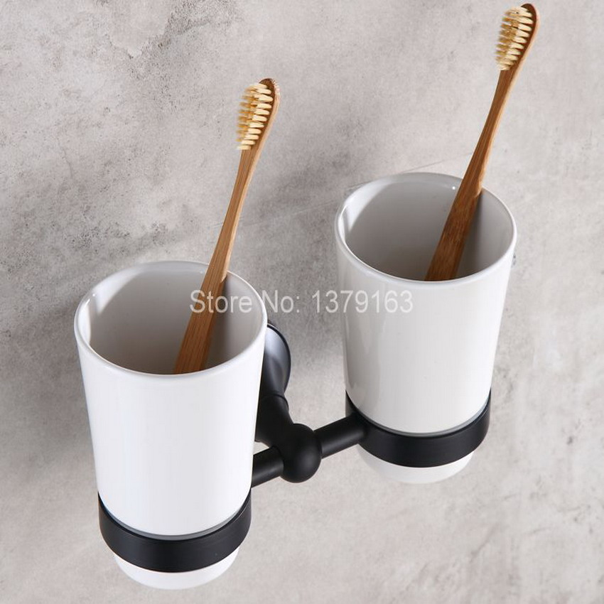Dark Black Oil Rubbed Bronze Wall Mounted Double Tumbler Holder White Ceramics Toothbrush Cup Bathroom Accessory aba859 black paint stainless steel bathroom toothbrush cup holder tumbler wall mounted
