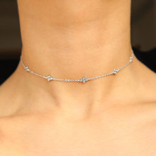 100% 925 sterling silver choker thin chain delicate fine bridal silver jewelry sparking cz simple cz charm chocker necklace(China)