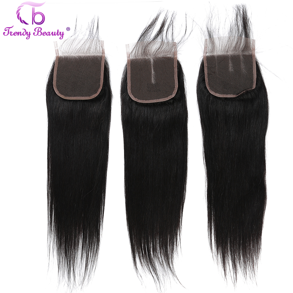 Trendy Beauty Peruvian straight hair 4 bundles with free part closure color #1b free ship 100% human hair bundles with closure