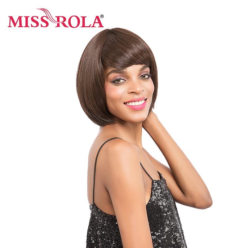 Miss Rola Short Synthetic Wigs Heat Resistant 4# Kanekalon Pelucas Sinteticas Resistentes Al Calor 1Pc Short Straight Hair Wigs