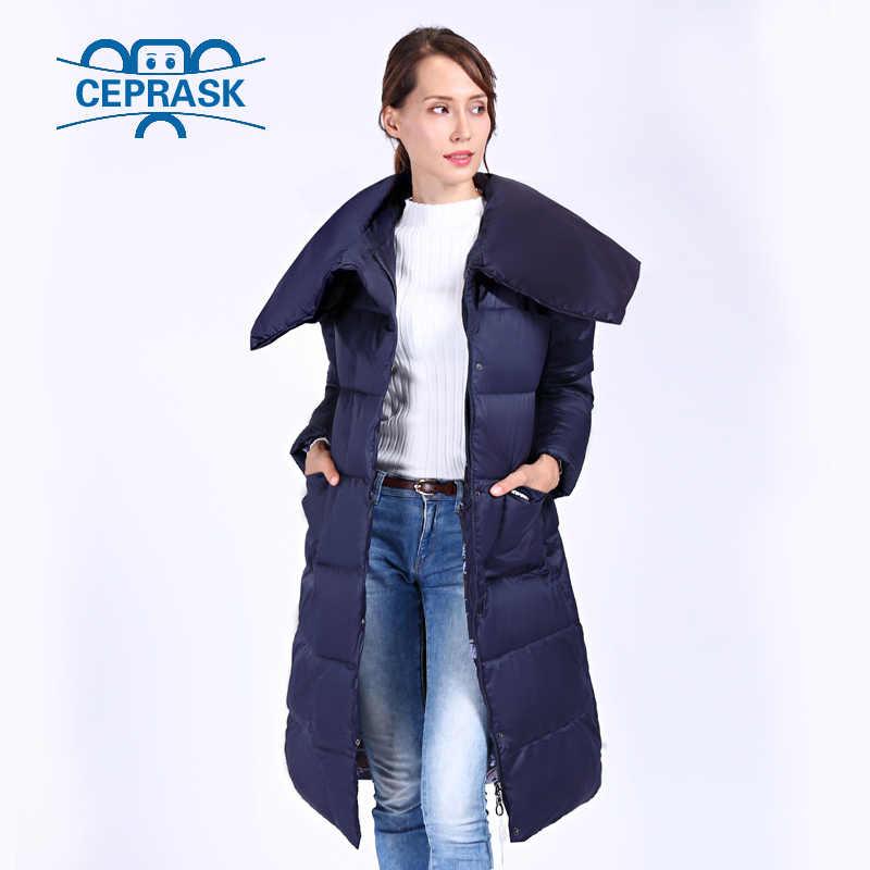 Ceprask 2019 Baru Kualitas Tinggi Jaket Musim Dingin Wanita Plus Ukuran X Panjang dengan Sabuk Wanita Tebal Jaket Musim Dingin mantel Bertudung Down Jaket