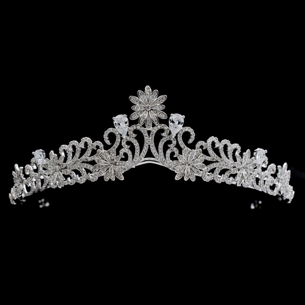 Fashion Full 5A CZ Cubic Zirconia Wedding Bride Flowers Tiara Crown Hair Jewelry Accessories Rhinestone Crystals Tiaras S16426 00009 red gold bride wedding hair tiaras ancient chinese empress hair piece