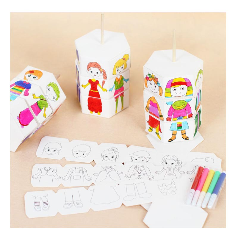 Children Rotary DIY Paper Colour Matching Rotation Change Clothes Doll Creative Handcraft Puzzle Kindergarten Toys For Children