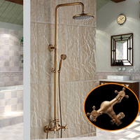 New Arrival Antique Brass Finish Bathroom Rainfall With Spray Shower Durable Brass Construction Faucet Set Free
