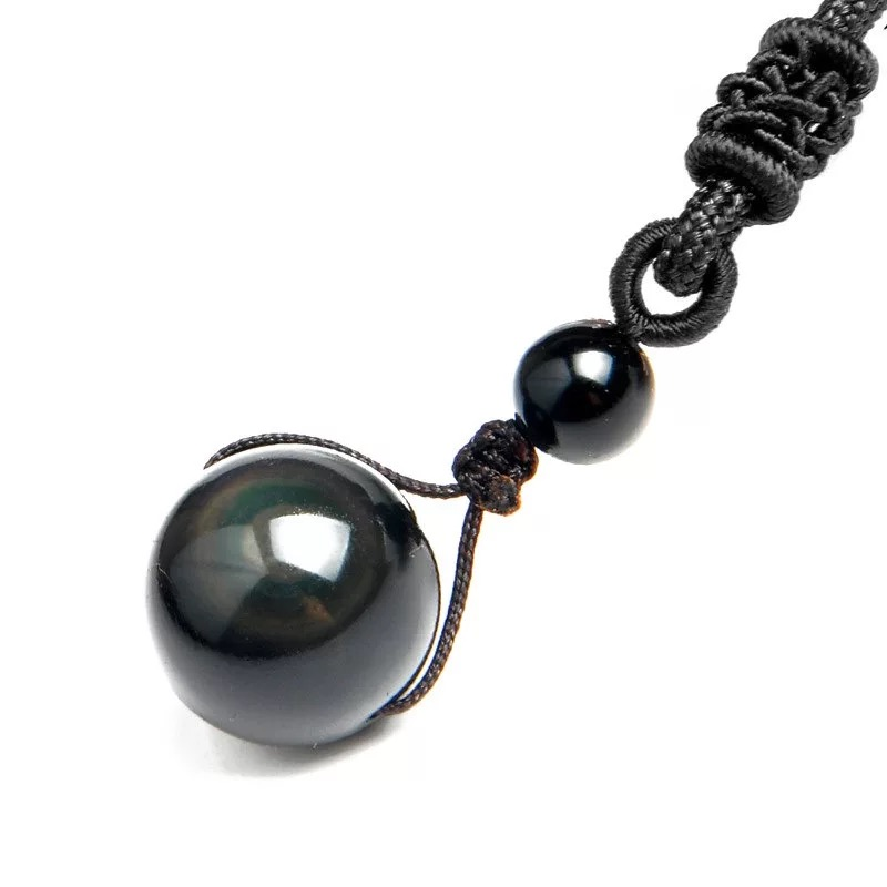 Reiki Healing Crystal Black Obsidian 16MM Rainbow Eye Beads Ball Natural Stone Pendant Transfer Lucky Love Amulet Jewelry Gift