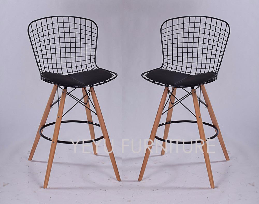 minimalista moderno diseo de alambre de acero asiento de madera pierna acolchado contador alambre de silla