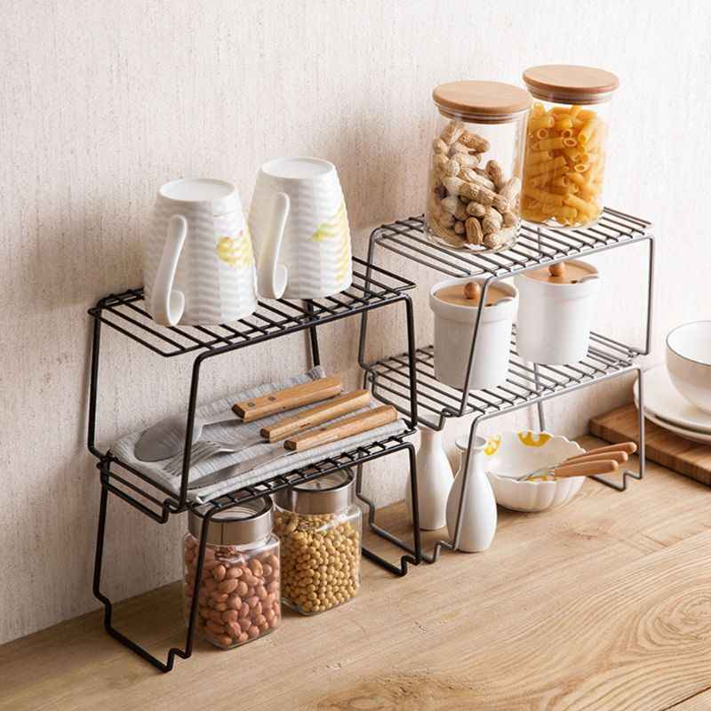Stackable Kitchen Cabinet Counter Top Pantry Shelf Under Sink Organizer Spice Rack Storage Rack For Dinnerware Cookware Bathroom
