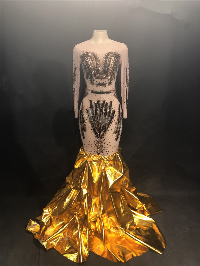Gold Crystals Diamond Sequins Trailing Dress Women Evening Party Stage One Piece Dress Nightclub Singer Model Catwalk DS Costume 3