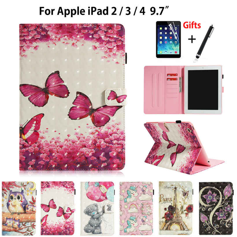 Case For Apple iPad 2 3 4 Cover Funda Tablet Silicone PU Leather For iPad 2 iPad 3 iPad 4 3D Painted Stand Shell +Stylus+film