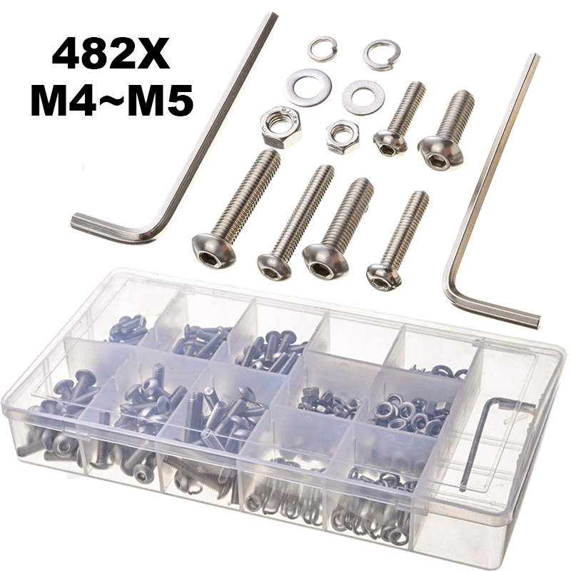 цена на 482PCS M4 M5 Stainless Hexagon Head Screws+ Hex Nuts Flat Pat Spring Pat Automobile Accessories