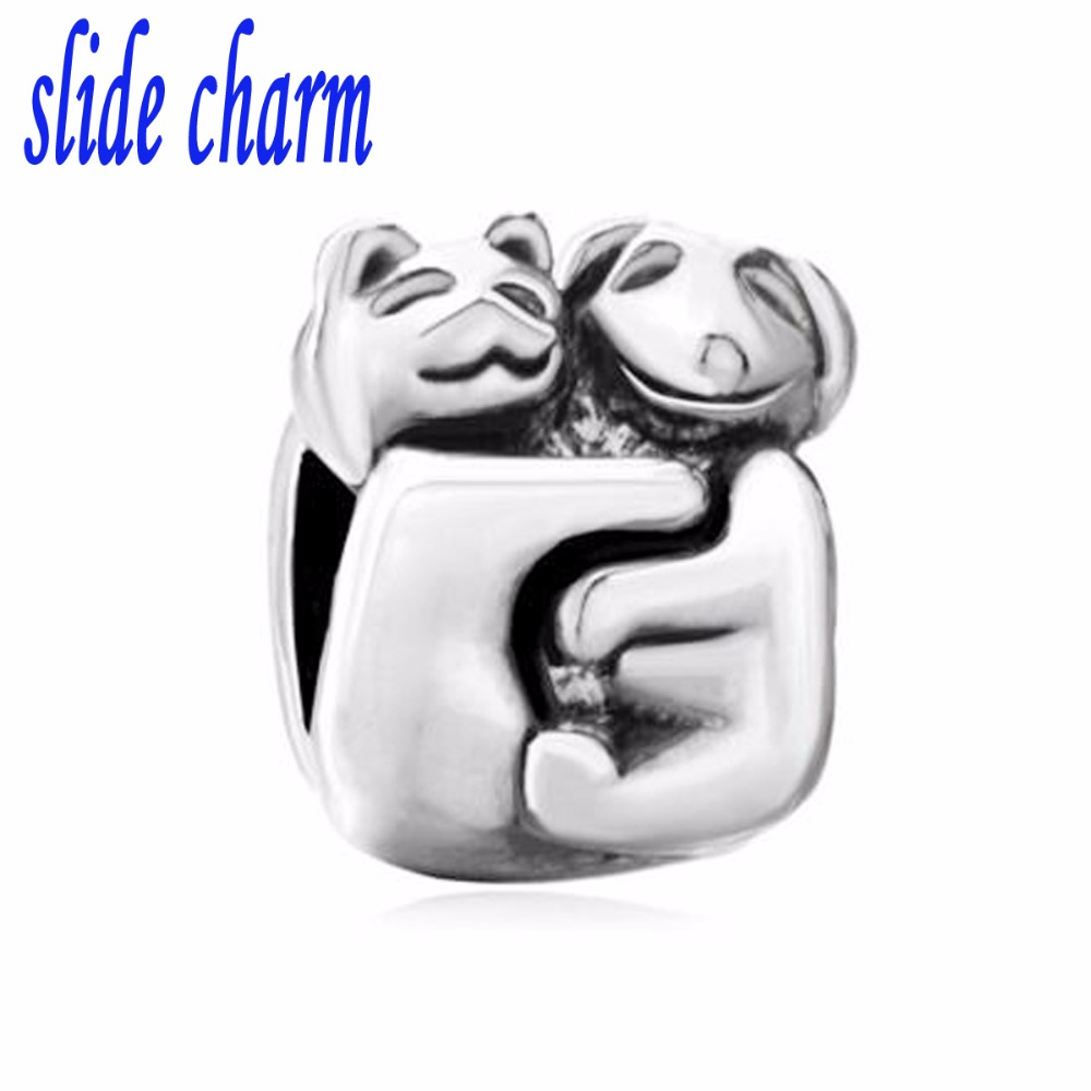 slide charm Free shipping dogs and cats brothers charm beads fit Pandora bracelet is the mother lover Christmas gift