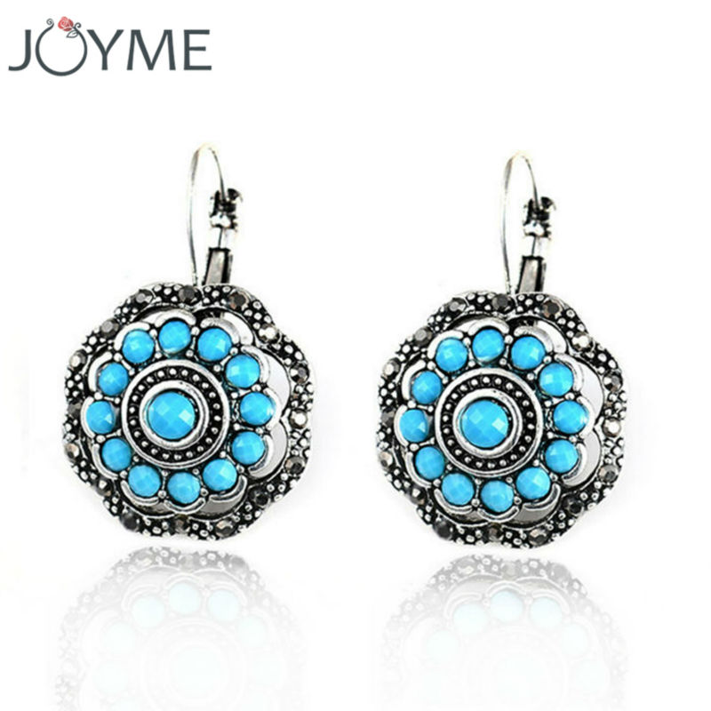 2016 Vintage drop earrings with stone tibetan silver color ...