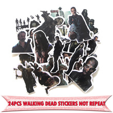 24pcs The walking dead funny DIY scrapbooking album Luggage Laptop Motorcycle notebook decal Waterproof Sticker E0041 15 7 7 7cm funny the walking family on board the walking dead zombie motorcycle decal window stickers car accessories sticker