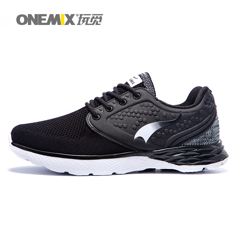 ONEMIX 2017 Running Shoes For Men Athletic Trainers Fitness Sports Shoe Man Black Mesh Breathable Outdoor Go Walking Sneakers 45 men running shoes breathable summer spring leather walking sports shoes lightweight trainers athletic sneakers m41108