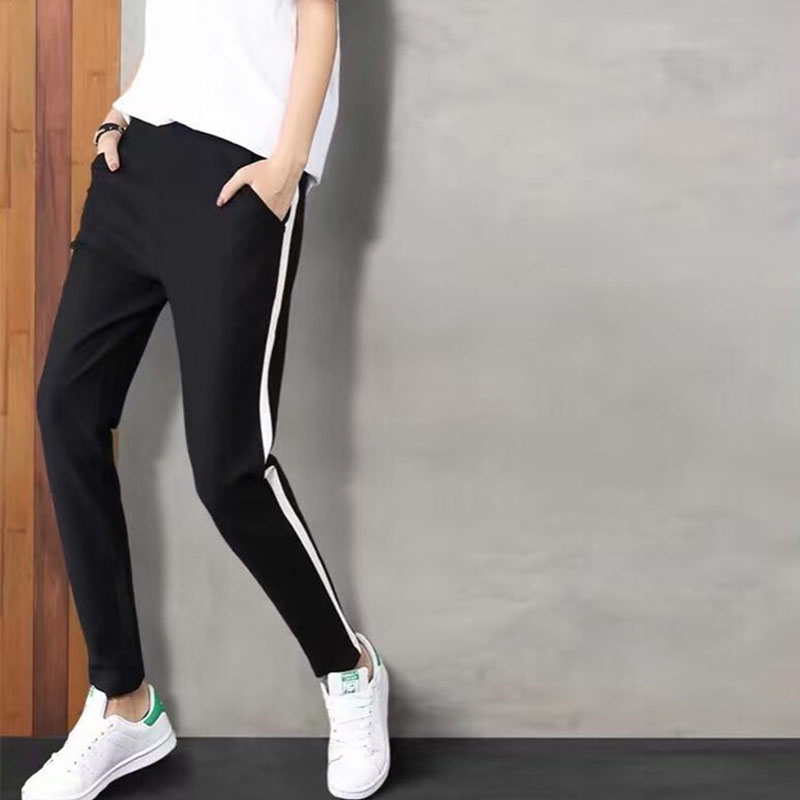 High Quality Spring/Autumn Women's Black Pants Women Cotton Casual Sweatpants Female High Waist Leather Spliced Patchwork Pants