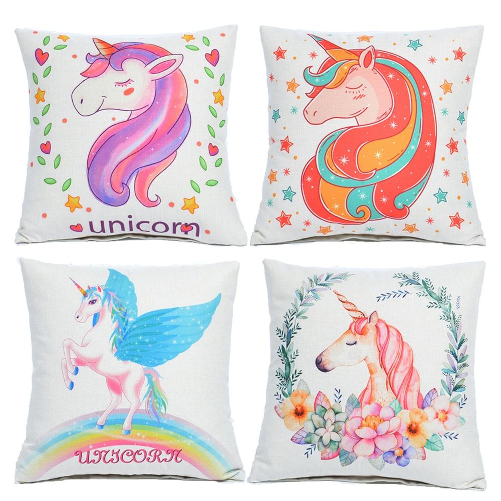 45*45cm Unicorn Animals Cute Cotton Throw Pillow Case Cushion Cover Home Decor