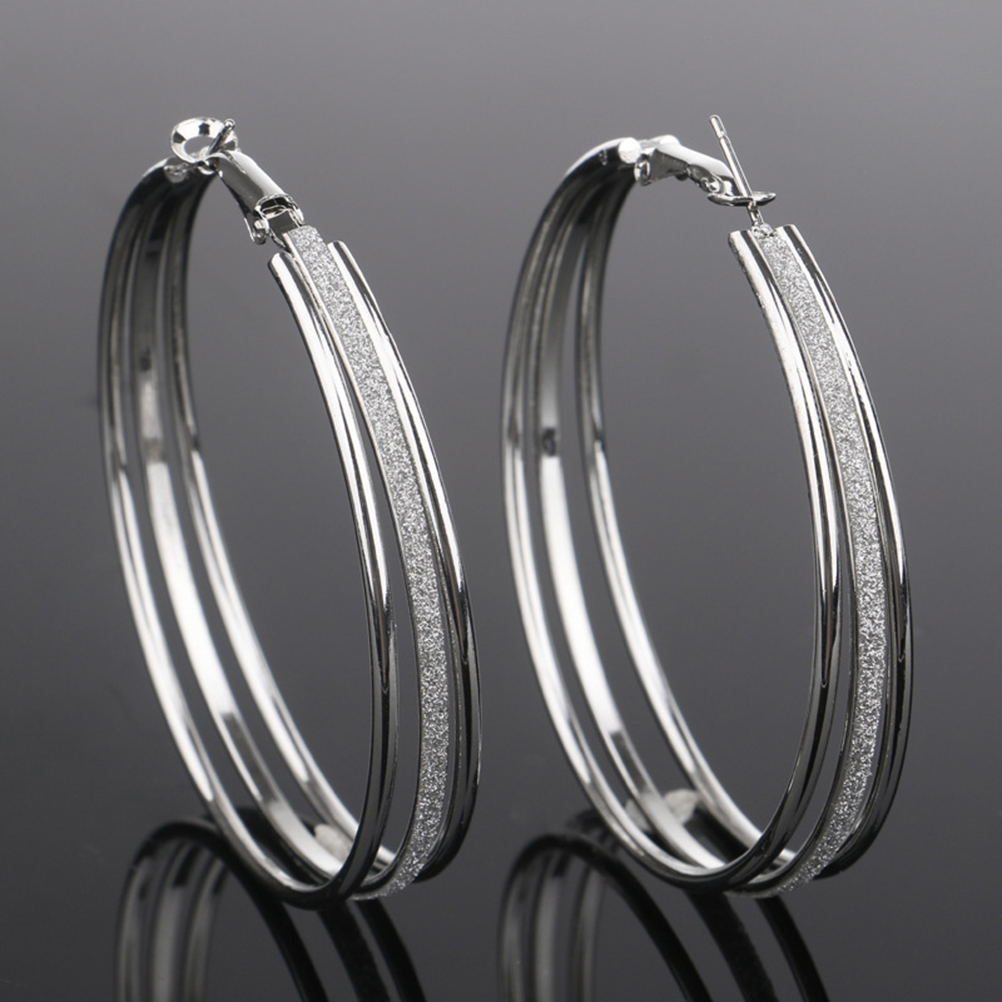 Hot Fashion 1Pair New Three Circle Earring Wedding Jewelry Fashion SilverGold-Color Fashion Earring For Women