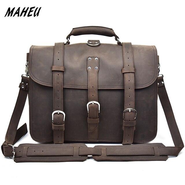 6e5b8f920e Homme Grande Taille En Cuir Véritable Mallette Vintage 15 Pouces sac à main  pour ordinateur portable
