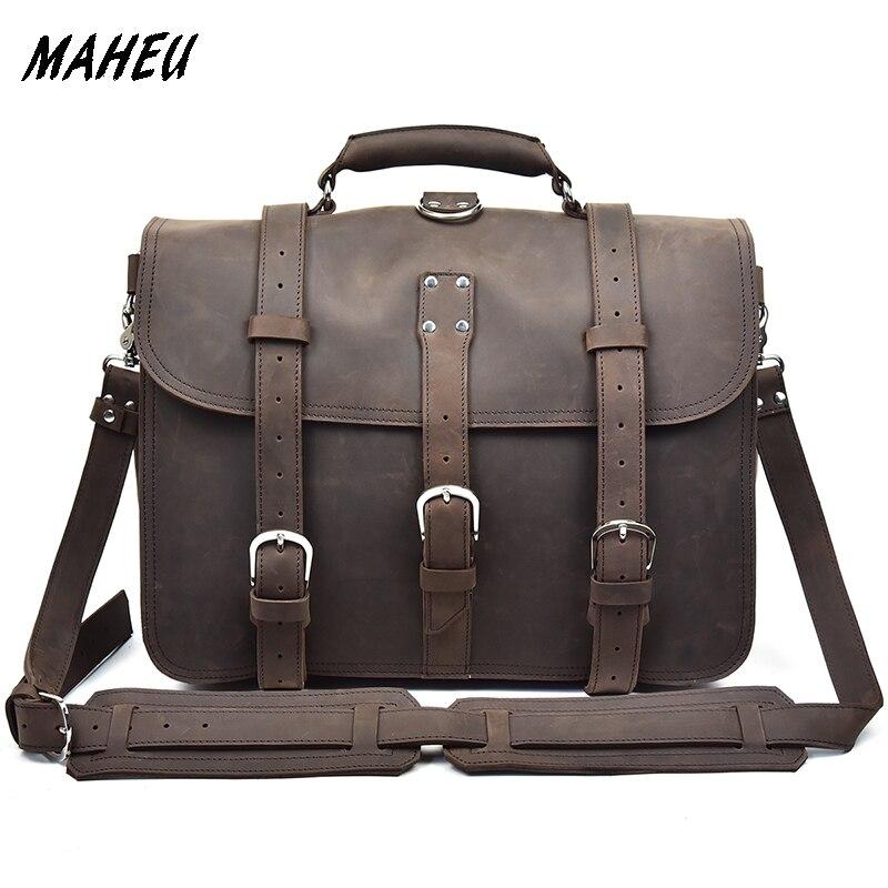 Men's large Genuine Leather Vintage Briefcase 17 inch Laptop Handbag Casual Shoulder Bag Multiple Function rucksack travel bag