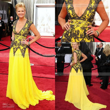 Helle Gelbe V-ausschnitt A-Line Bodenlangen Chiffon Abendkleider Spitze Appliques Sweep Zug Promi Kleid WL184