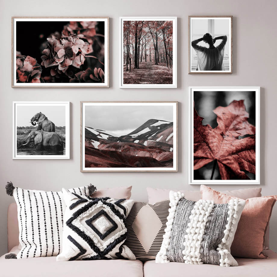 Forest Leaf Elephant Girl Mountain Wall Art Canvas Painting Nordic Posters And Prints Animal Pictures For Living Room Decor