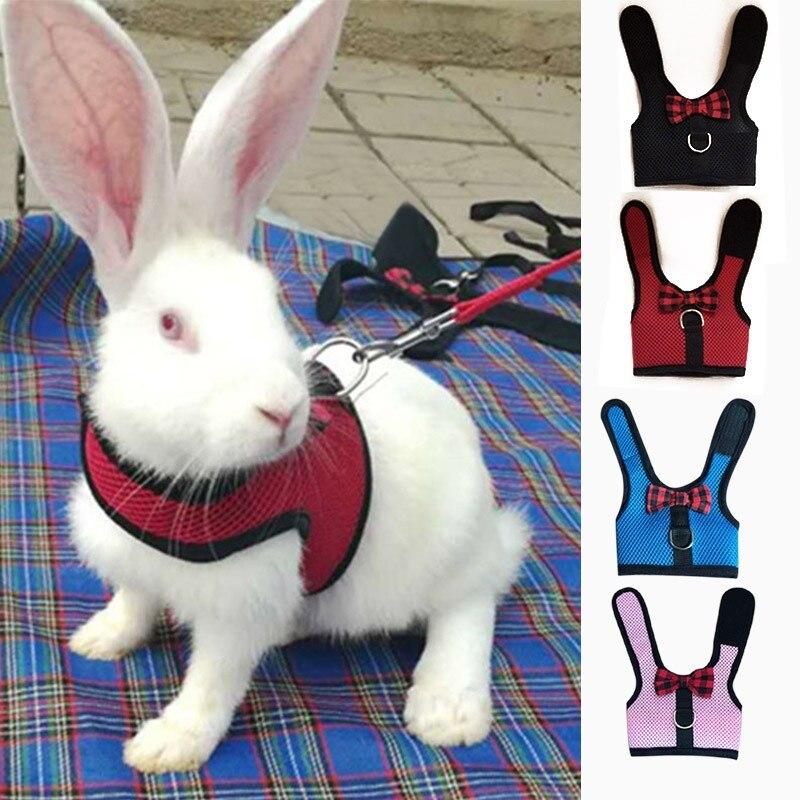 Arnés del chaleco del hámster de los conejos con el arnés de la correa del pecho del conejo pequeños animales accesorios para mascotas S/M/L 4