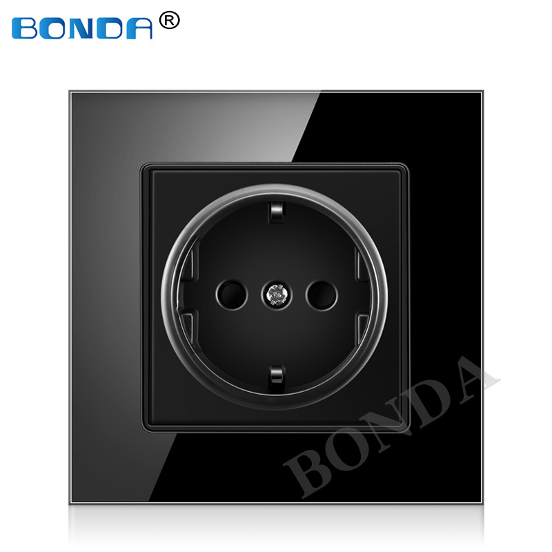 BONDA EU Standard White Black Gold Crystal Glass Panel AC 110 250V 16A Wall Power Socket16A 2100ma Electrical Wall Power Socket