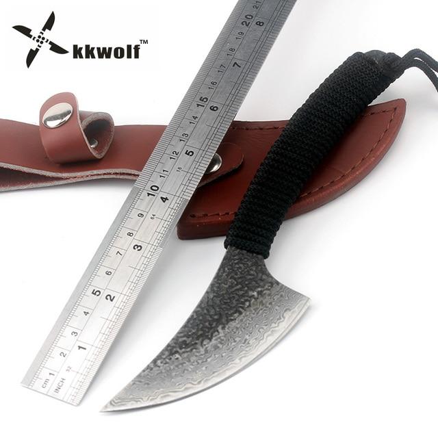 Cuchillo de caza KKWOLF Sharp hecho a mano de acero de Damasco, cuchillo de Camping táctico recto fijo, cuchillo de rescate de supervivencia al aire libre, herramienta EDC