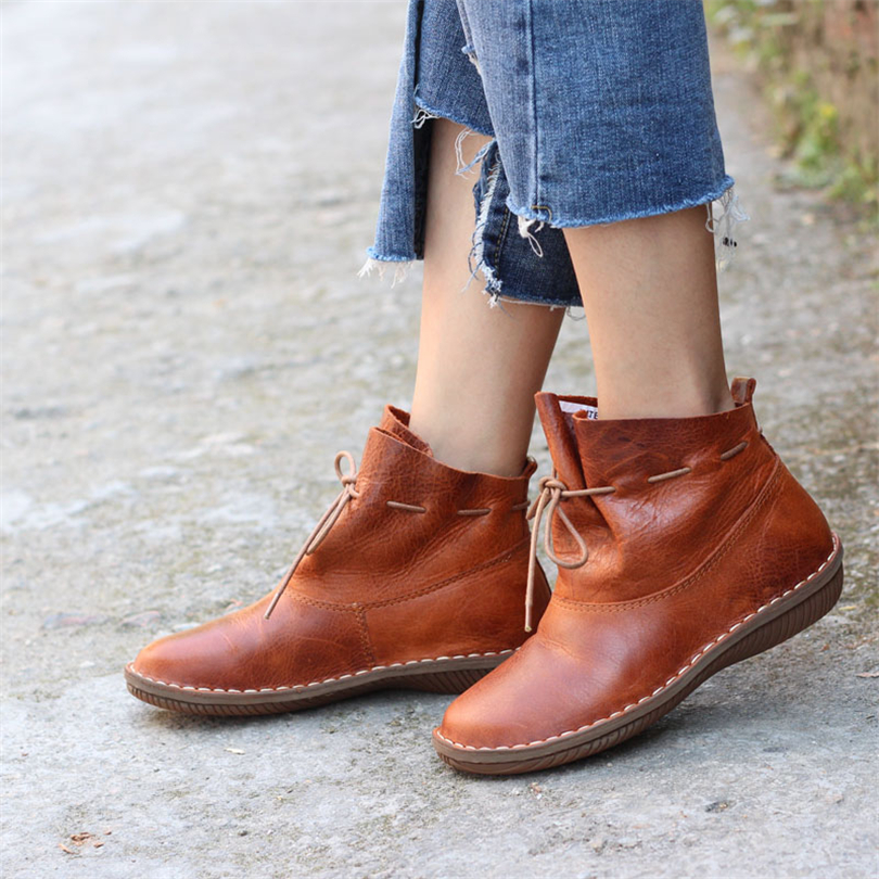2018 women new full grain leather retro Martin boots Mori girl art short boots spring summer leather women's comfortable boots the new spring and summer ms south korea ensure their boots comfortable show female water thin antiskid tall canister shoe