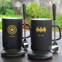 HOT SALE High Quality Black Mug With Lid Ceramic Cup Creative Coffee Cup Breakfast Milk Mug