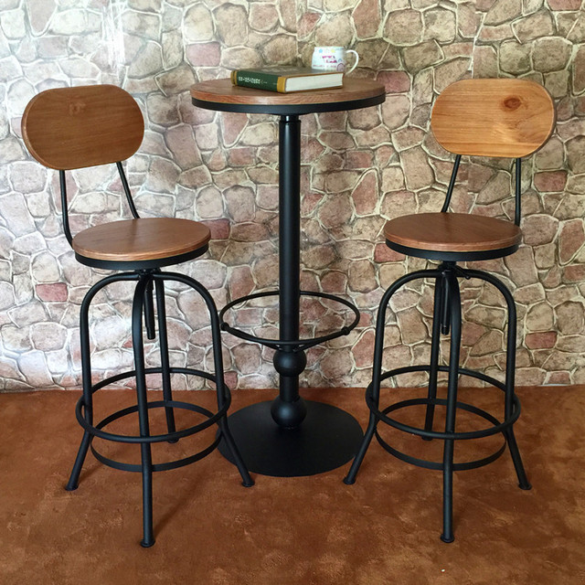 Loft American Retro Iron Bar Tables Tall Chairs Casual Coffee Table Wood Stools