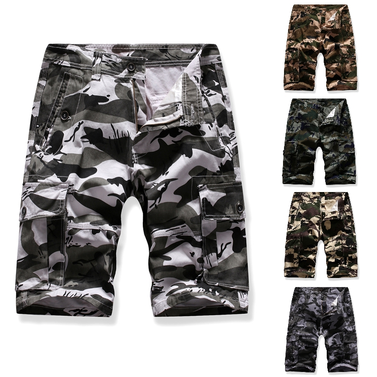 Men Shorts Camouflage Pure Cotton Brand Clothing Comfortable Men Casual Tactical Multi-pocket Multi-color Camo Cargo Shorts