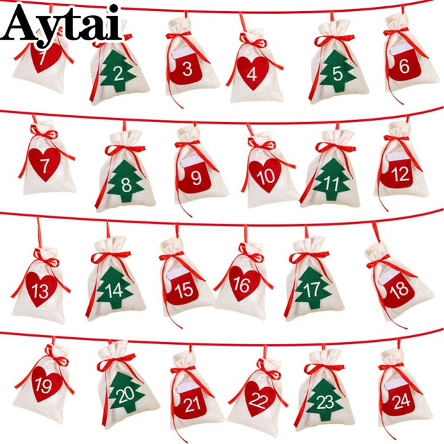 aytai christmas advent calendar garland felt christmas tree advent calendar 2431 numbers gift bags