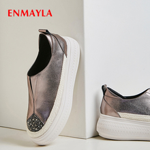 ENMAYLA Platform Heels Genuine Leather Slip-On Balenciaca Shoes Rubber Casual Womens Mary Jane and Bag Set
