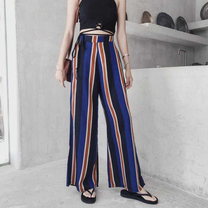 Thailand Flower Pants Beach Striped High Waist Chiffon Wide Leg