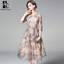 S-XXL, женское платье на весну и лето, серебряное, золотое, Цветочное платье с вышивкой, бальное платье, 3/4 рукав, длина до икры, милое бежевое платье