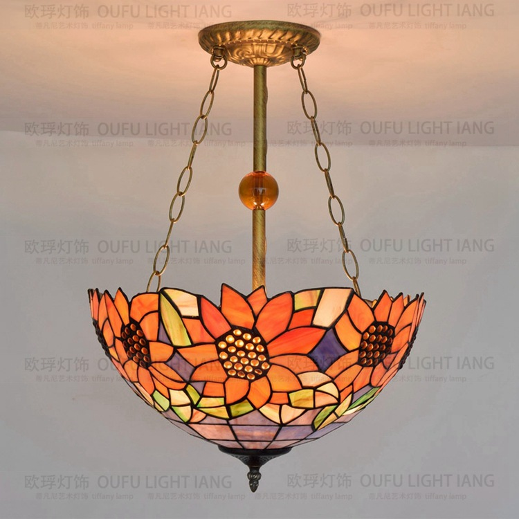 16inch Tiffany Sunflower Stained Glass Suspended Luminaire E27 110-240V Chain Pendant Lights  For Home Parlor Dining Room