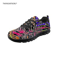 Twoheartsgirl Casual Women Shoes Colorful Women Lace Up Flat Black Bottom Mesh Shoes for Female Breathable Ladies Mesh Sneakers