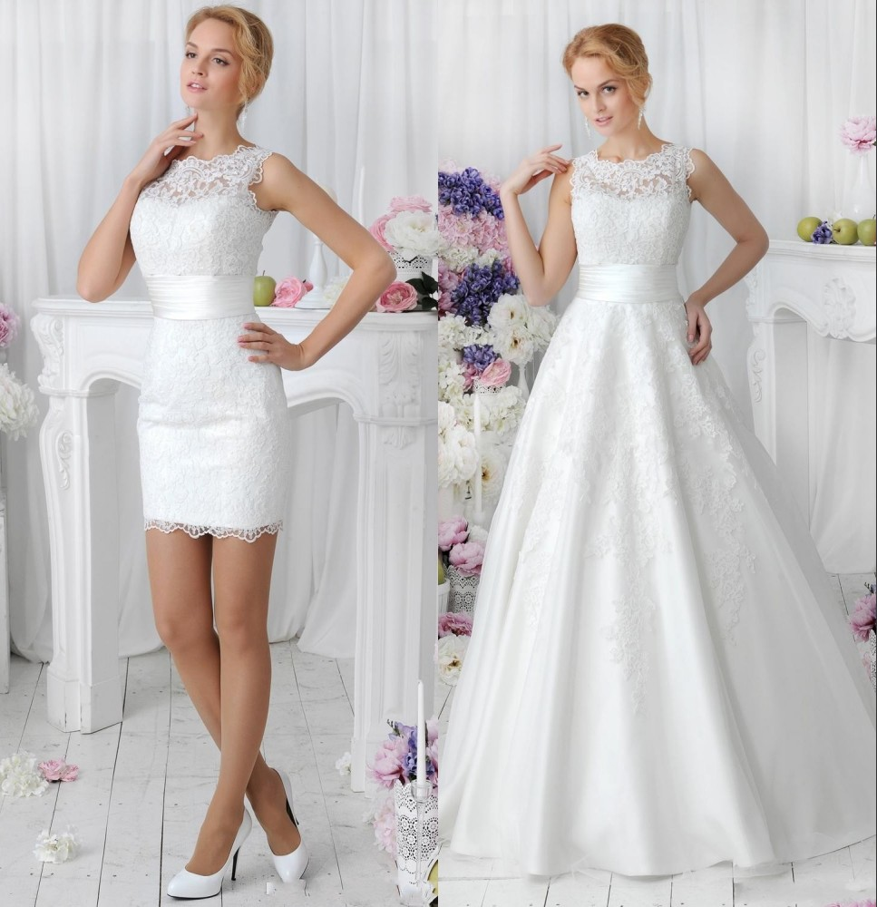 in 1 lace wedding dresses with detachable skirt train high neck two
