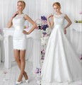 2017 2 in 1 Lace Wedding Dresses With Detachable Skirt Train High Neck Two Pieces Lace A Line Bridal Gowns vestido de noiva