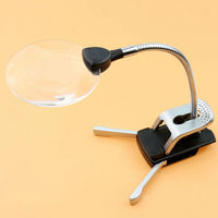 2 5X 8X Reading Lamp Clamp Folding LED Lighted Magnifier Loupe Desktop Magnifying Glass With Wireless