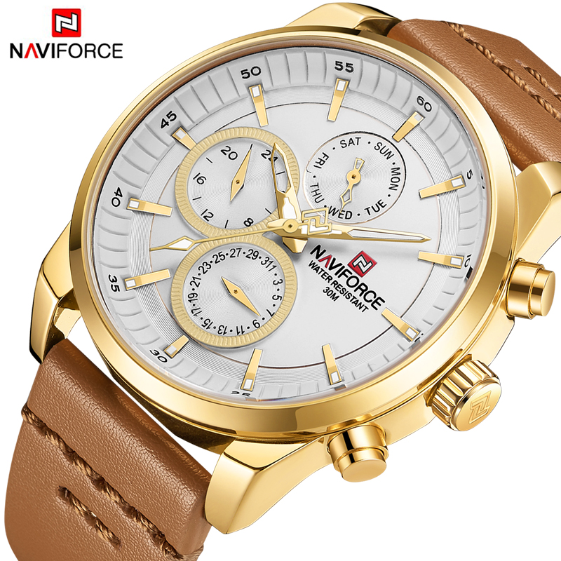 NAVIFORCE New Fashion Mens Watches Military Sport Quartz Men Watch Gold Leather Waterproof Male Wristwatches Relogio Masculino